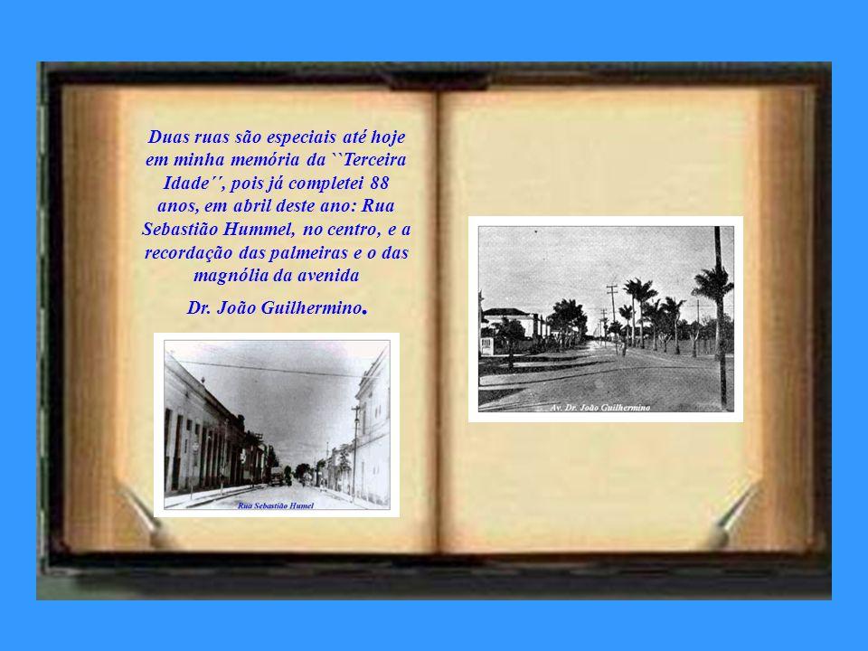 Duas ruas são especiais até hoje em minha memória da ``Terceira Idade´´, pois já completei 88 anos, em abril deste ano: Rua Sebastião Hummel, no centro, e a recordação das palmeiras e o das magnólia da avenida