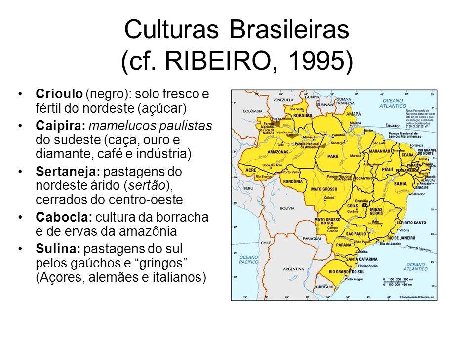 Culturas Brasileiras (cf. RIBEIRO, 1995)
