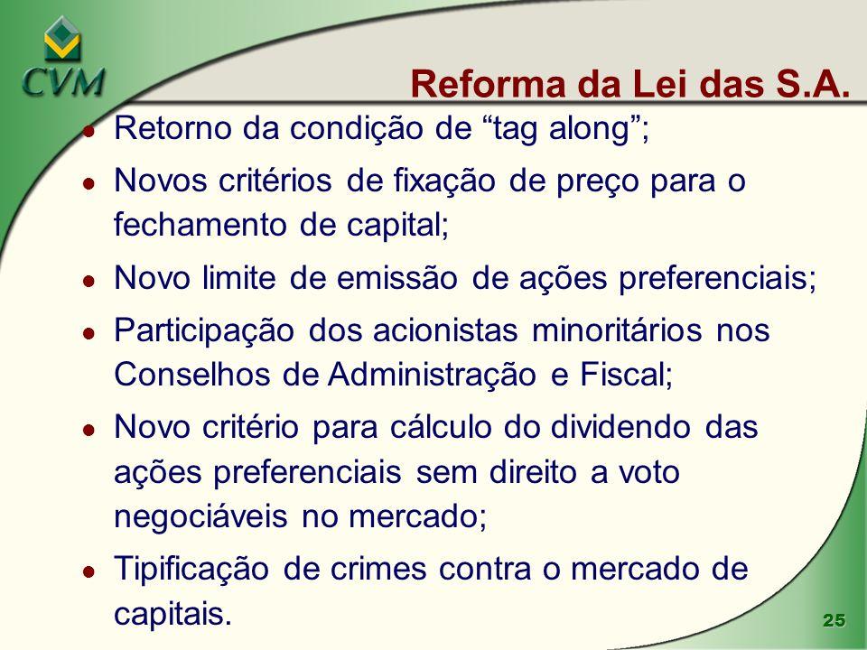 Reforma da Lei das S.A. Retorno da condição de tag along ;