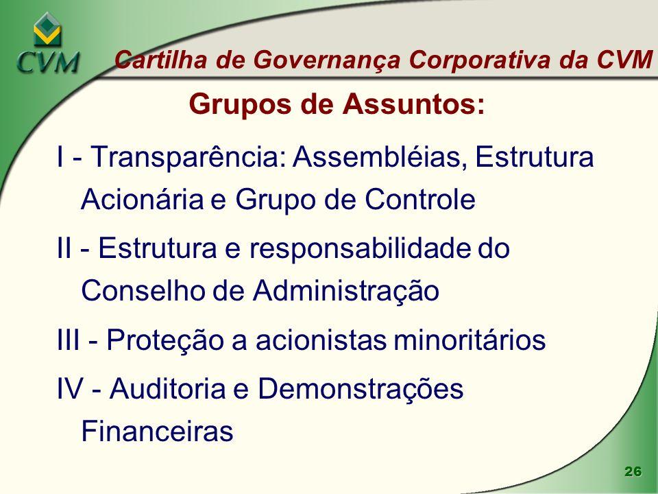 II - Estrutura e responsabilidade do Conselho de Administração