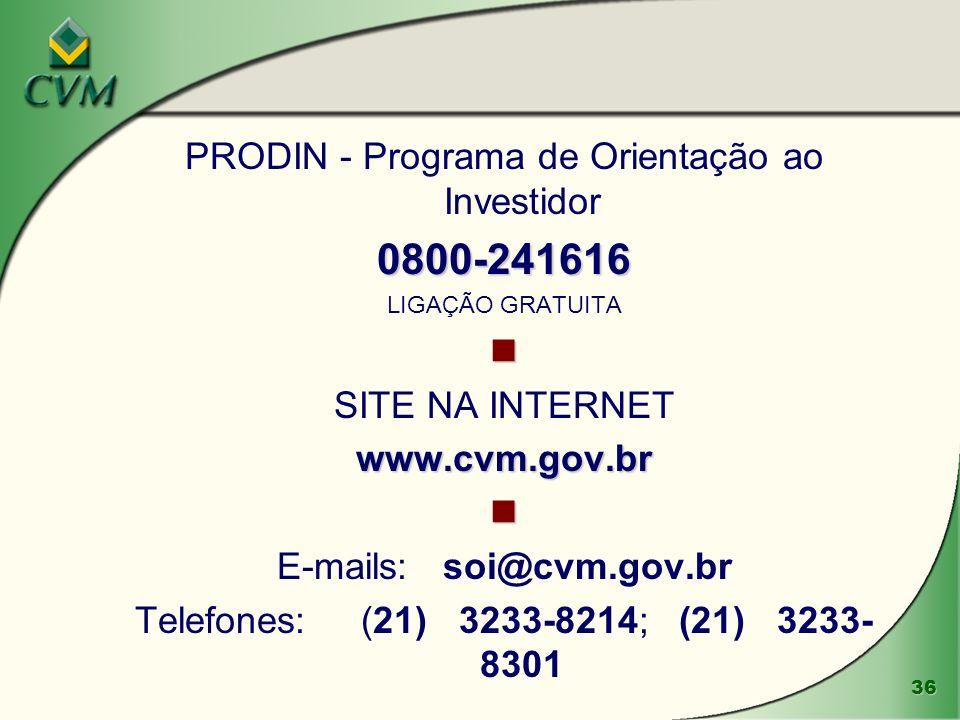 0800-241616 PRODIN - Programa de Orientação ao Investidor 