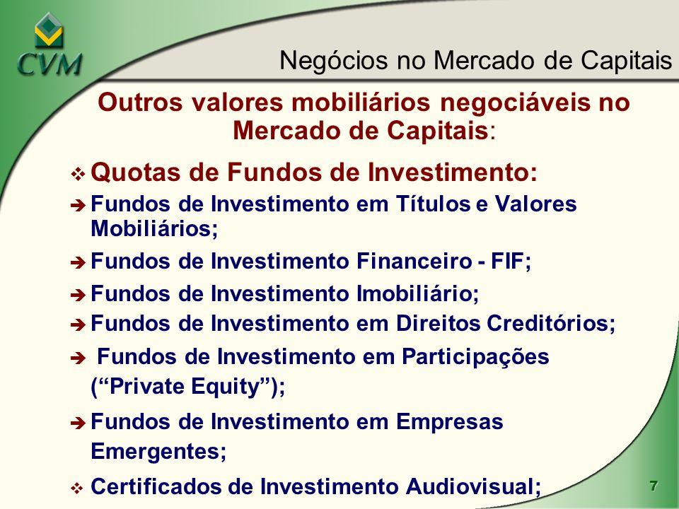 Outros valores mobiliários negociáveis no Mercado de Capitais: