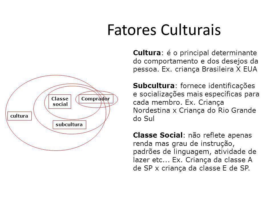 Fatores Culturais Cultura: é o principal determinante do comportamento e dos desejos da pessoa. Ex. criança Brasileira X EUA.