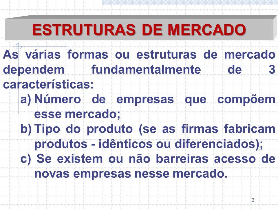 ESTRUTURAS DE MERCADO As várias formas ou estruturas de mercado dependem fundamentalmente de 3 características: