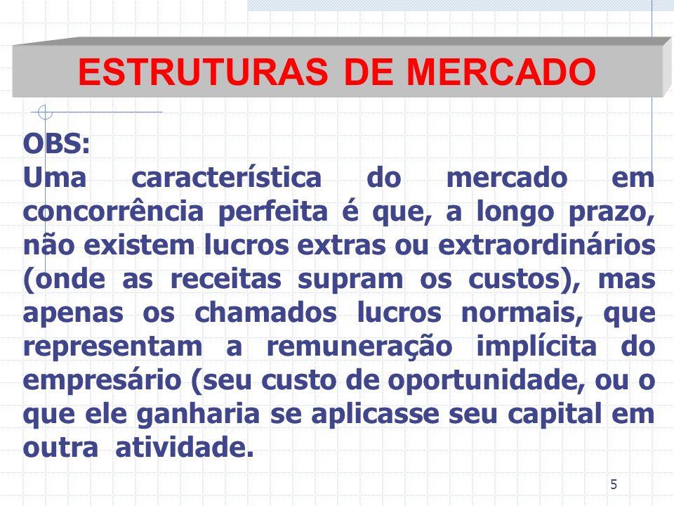 ESTRUTURAS DE MERCADO OBS: