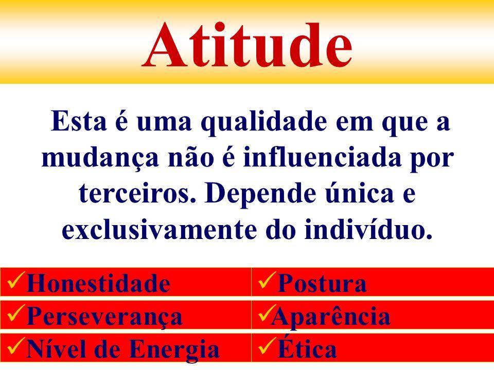 Atitude Esta é uma qualidade em que a mudança não é influenciada por terceiros. Depende única e exclusivamente do indivíduo.
