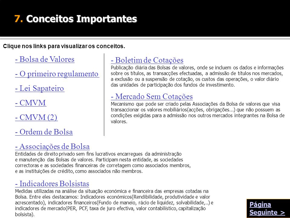 7. Conceitos Importantes