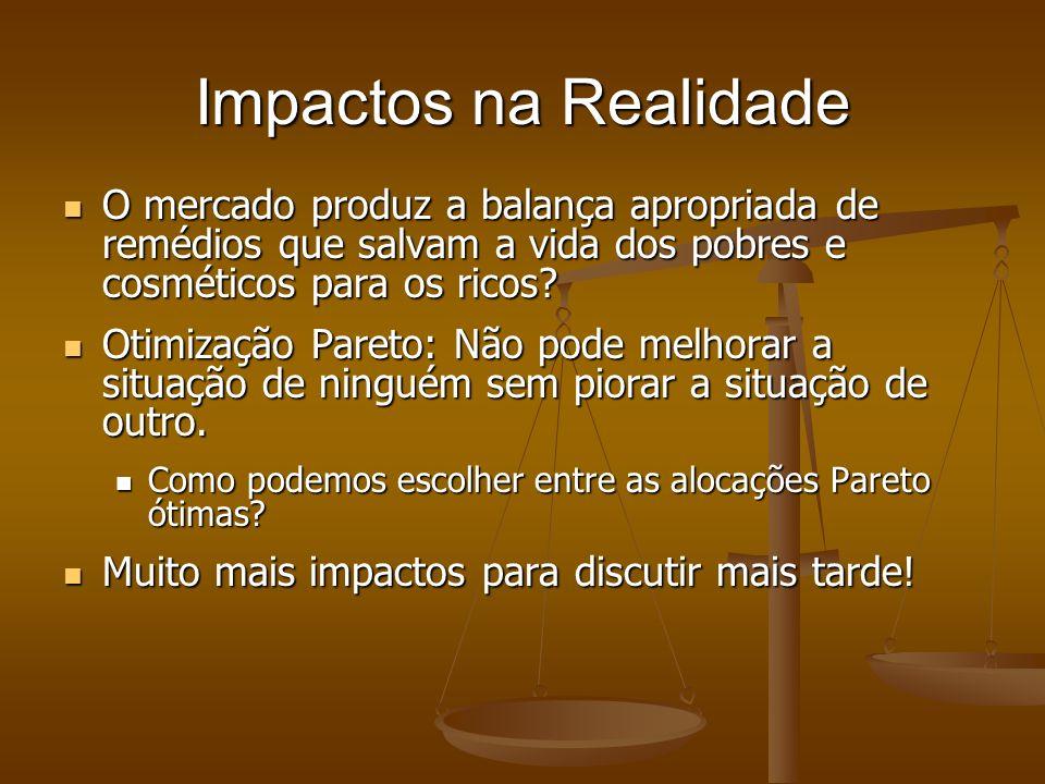 Impactos na Realidade O mercado produz a balança apropriada de remédios que salvam a vida dos pobres e cosméticos para os ricos