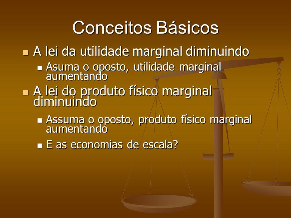 Conceitos Básicos A lei da utilidade marginal diminuindo