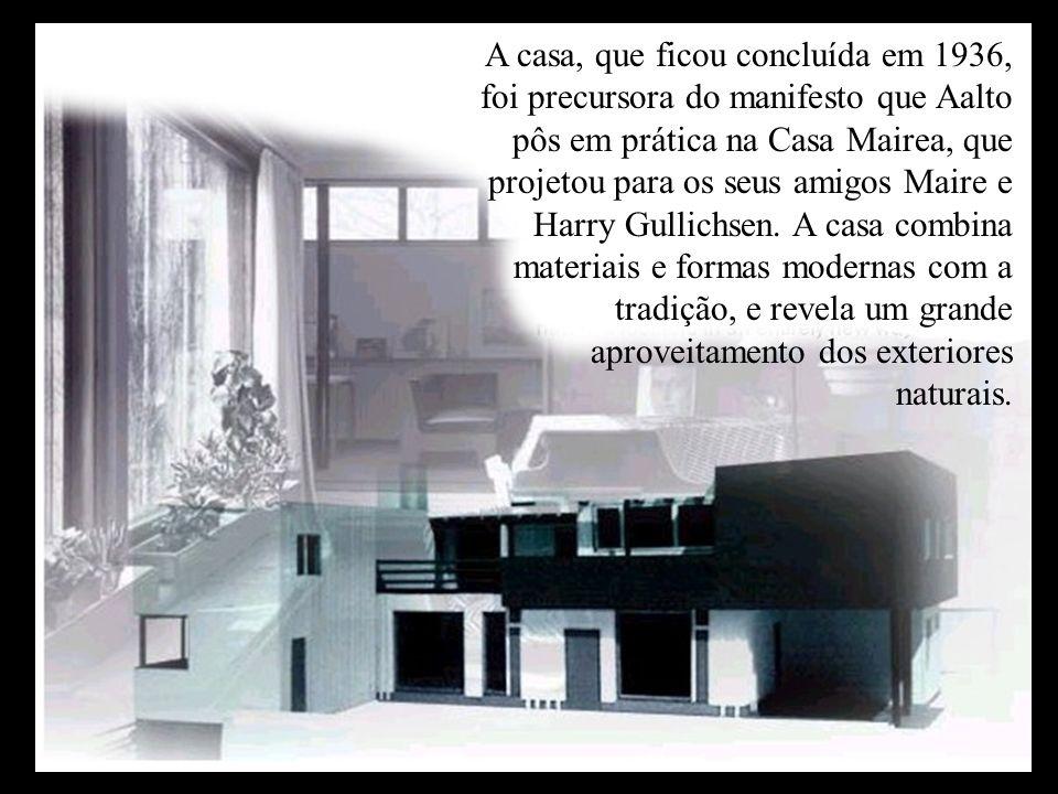 A casa, que ficou concluída em 1936, foi precursora do manifesto que Aalto pôs em prática na Casa Mairea, que projetou para os seus amigos Maire e Harry Gullichsen.