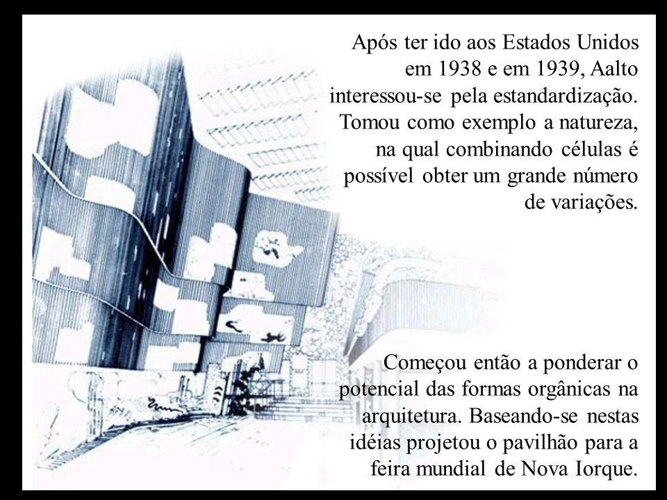 Após ter ido aos Estados Unidos em 1938 e em 1939, Aalto interessou-se pela estandardização. Tomou como exemplo a natureza, na qual combinando células é possível obter um grande número de variações.