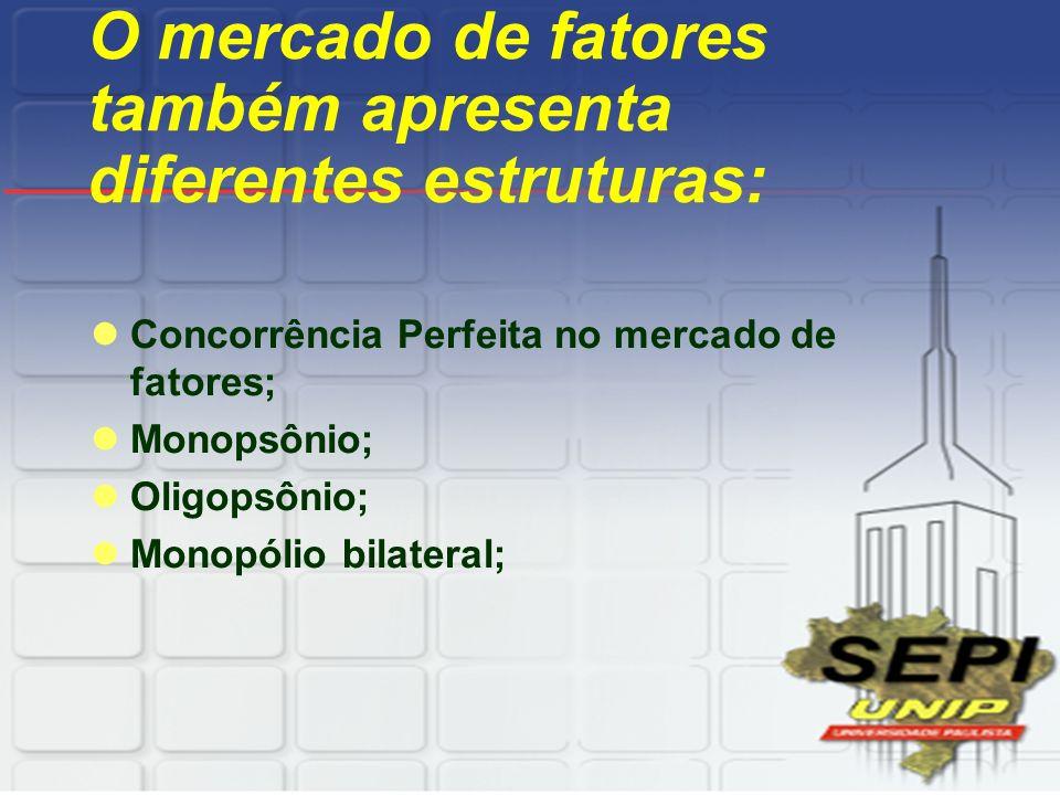 O mercado de fatores também apresenta diferentes estruturas: