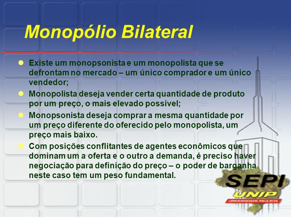 Monopólio Bilateral Existe um monopsonista e um monopolista que se defrontam no mercado – um único comprador e um único vendedor;