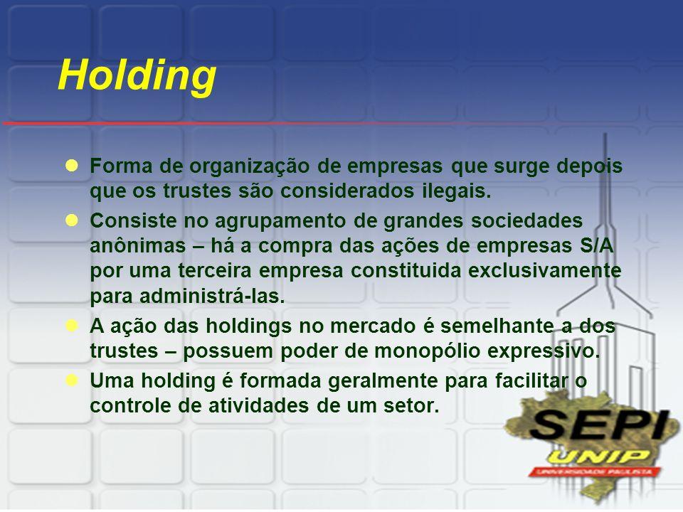 Holding Forma de organização de empresas que surge depois que os trustes são considerados ilegais.