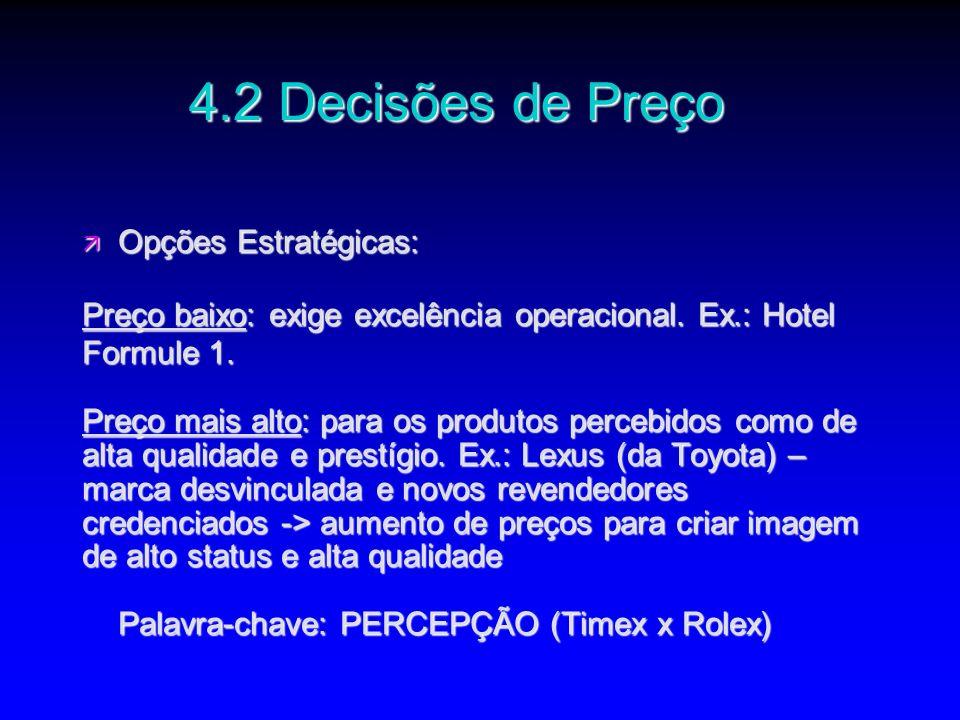 4.2 Decisões de Preço Opções Estratégicas: