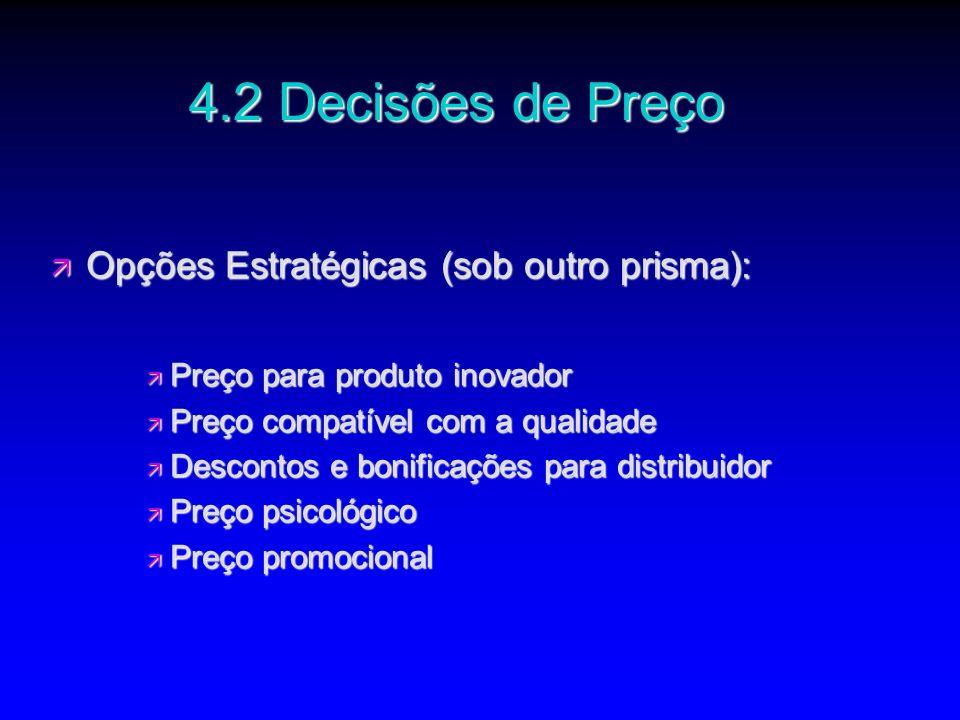 4.2 Decisões de Preço Opções Estratégicas (sob outro prisma):