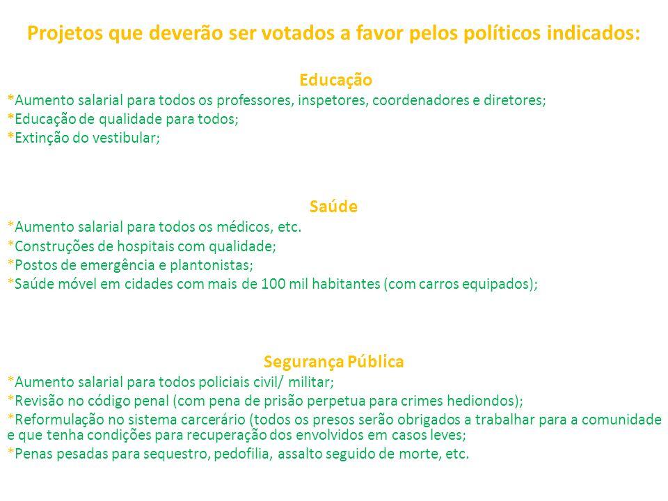 Projetos que deverão ser votados a favor pelos políticos indicados: