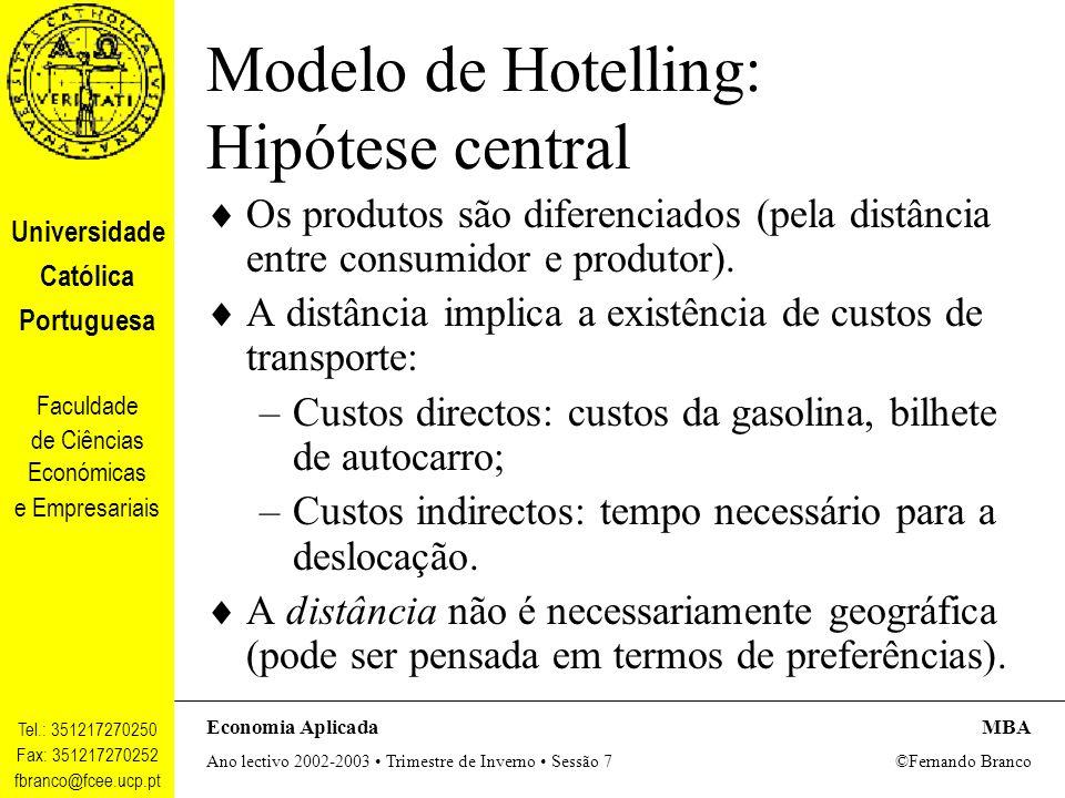 Modelo de Hotelling: Hipótese central