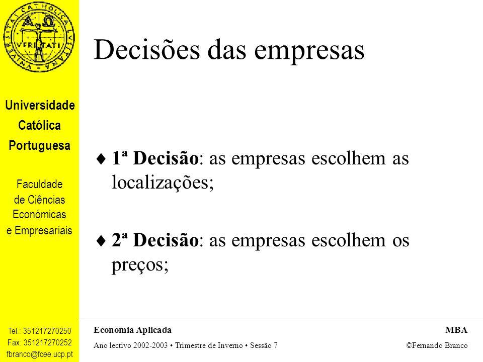 Decisões das empresas 1ª Decisão: as empresas escolhem as localizações; 2ª Decisão: as empresas escolhem os preços;