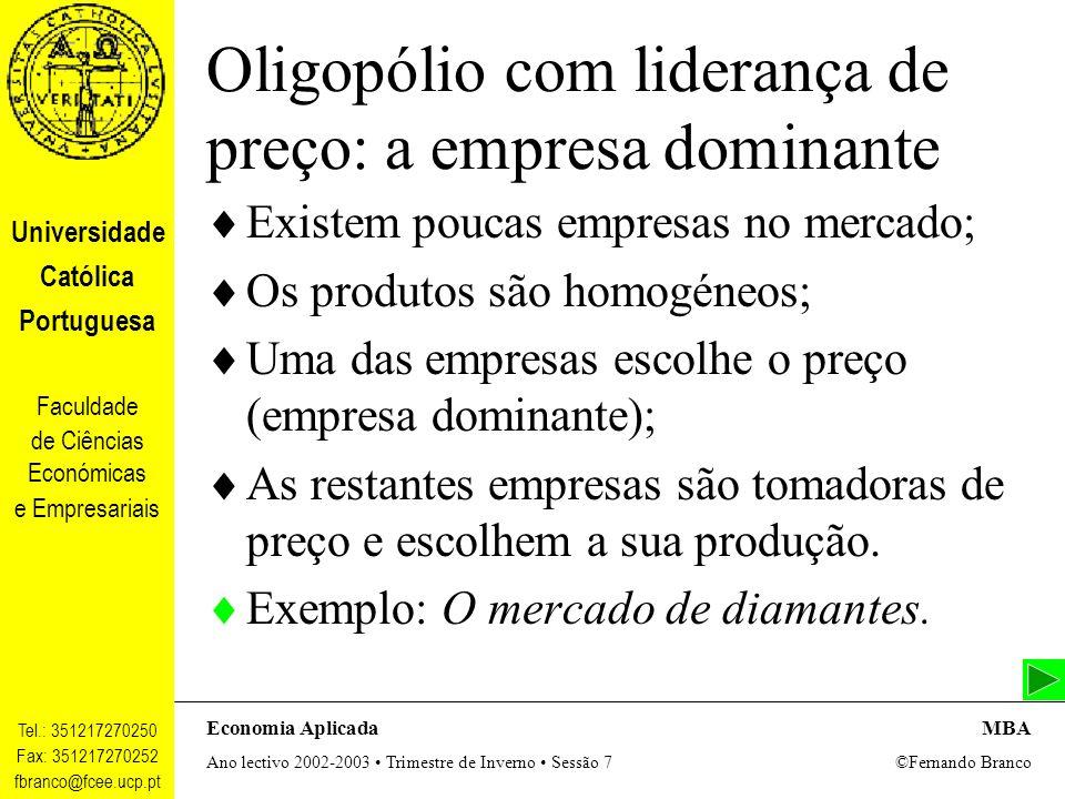 Oligopólio com liderança de preço: a empresa dominante