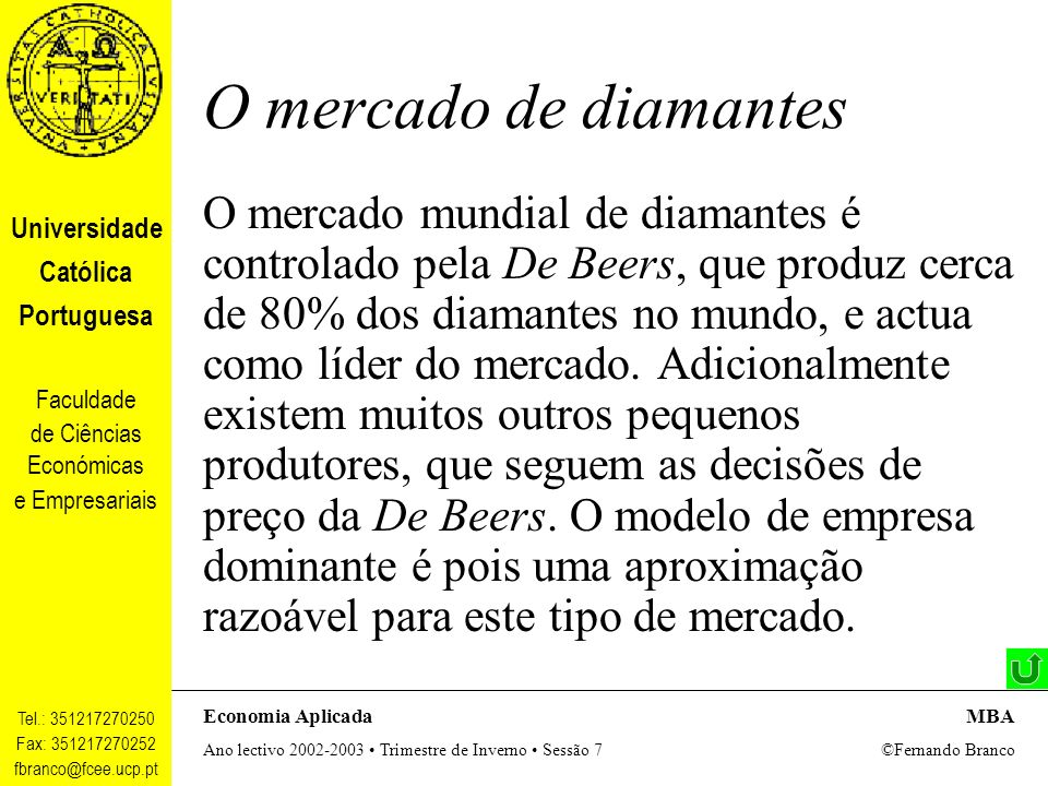 O mercado de diamantes