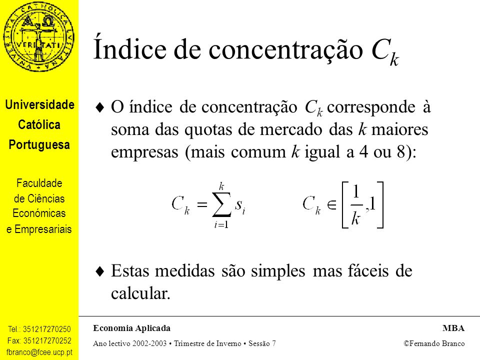 Índice de concentração Ck