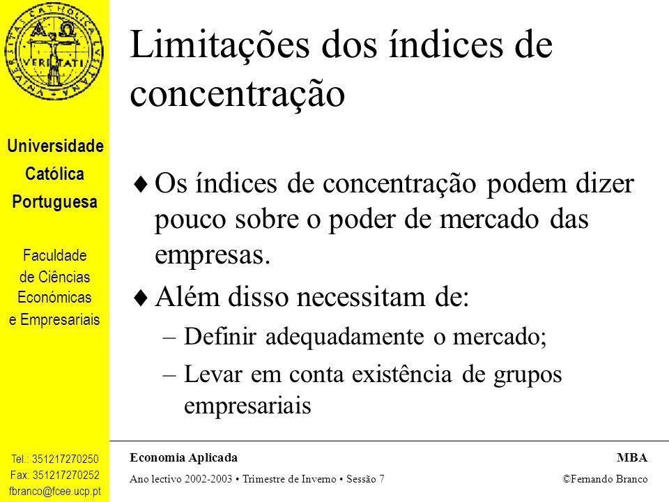 Limitações dos índices de concentração