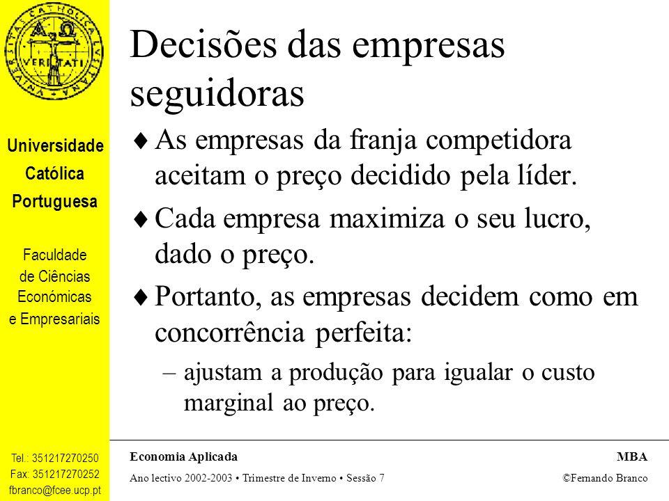 Decisões das empresas seguidoras