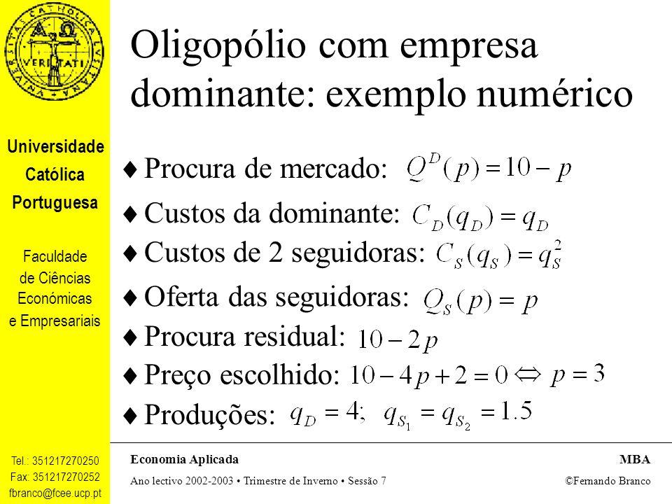 Oligopólio com empresa dominante: exemplo numérico