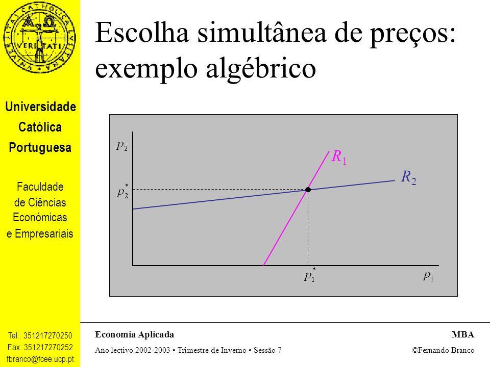 Escolha simultânea de preços: exemplo algébrico