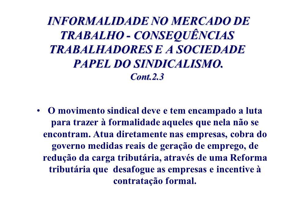 INFORMALIDADE NO MERCADO DE TRABALHO - CONSEQUÊNCIAS TRABALHADORES E A SOCIEDADE PAPEL DO SINDICALISMO. Cont.2.3