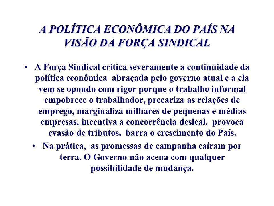 A POLÍTICA ECONÔMICA DO PAÍS NA VISÃO DA FORÇA SINDICAL