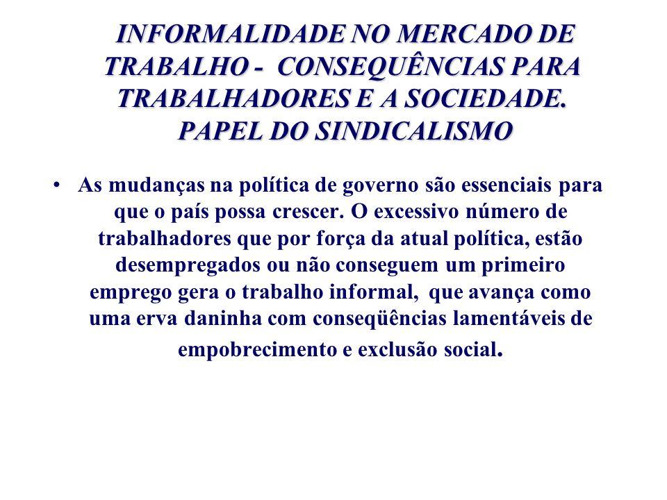 INFORMALIDADE NO MERCADO DE TRABALHO - CONSEQUÊNCIAS PARA TRABALHADORES E A SOCIEDADE. PAPEL DO SINDICALISMO