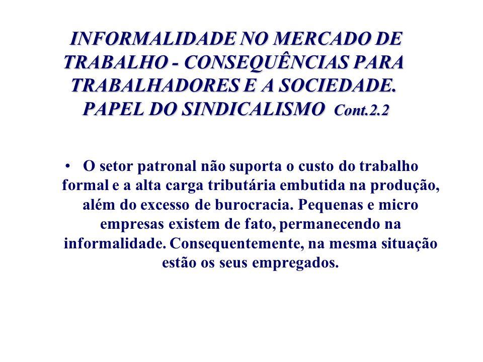INFORMALIDADE NO MERCADO DE TRABALHO - CONSEQUÊNCIAS PARA TRABALHADORES E A SOCIEDADE. PAPEL DO SINDICALISMO Cont.2.2