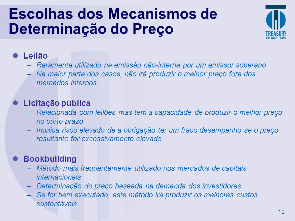 Escolhas dos Mecanismos de Determinação do Preço