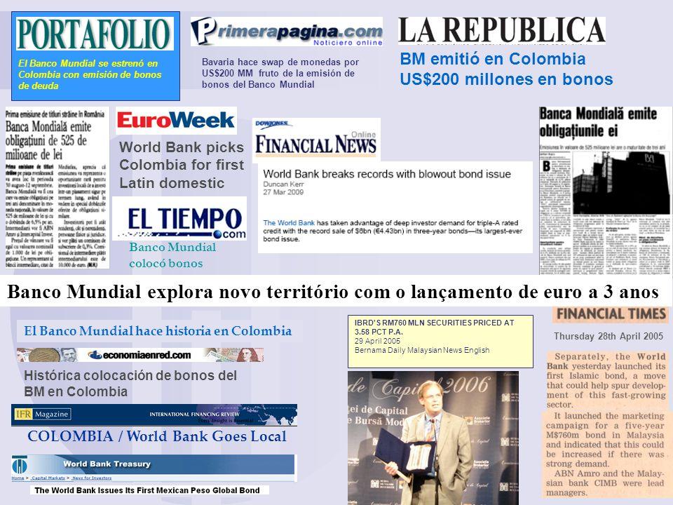 El Banco Mundial se estrenó en Colombia con emisión de bonos de deuda