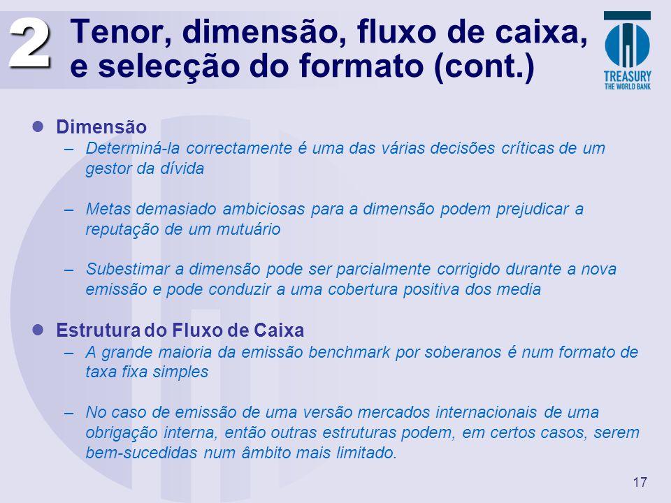 Tenor, dimensão, fluxo de caixa, e selecção do formato (cont.)