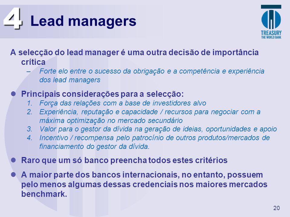 4 Lead managers. A selecção do lead manager é uma outra decisão de importância crítica.