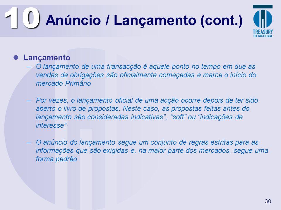 Anúncio / Lançamento (cont.)