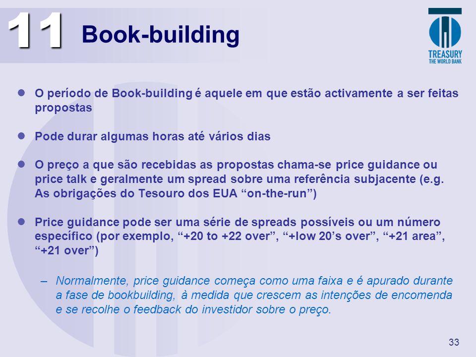 11 Book-building. O período de Book-building é aquele em que estão activamente a ser feitas propostas.