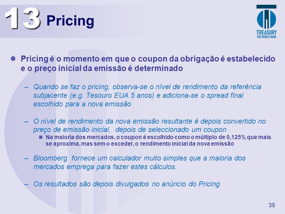 13 Pricing. Pricing é o momento em que o coupon da obrigação é estabelecido e o preço inicial da emissão é determinado.