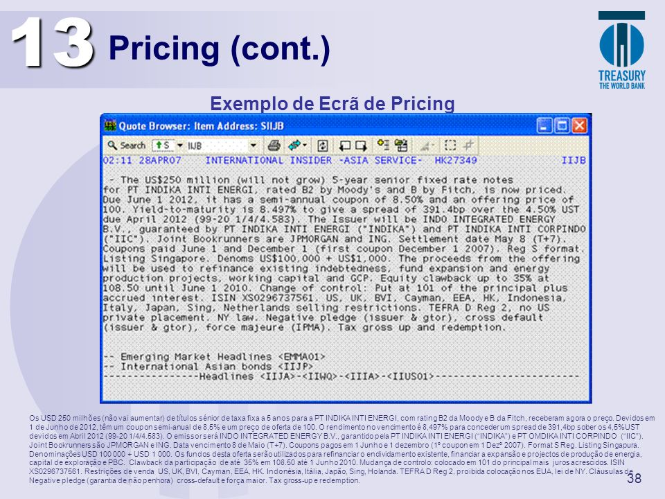 Exemplo de Ecrã de Pricing