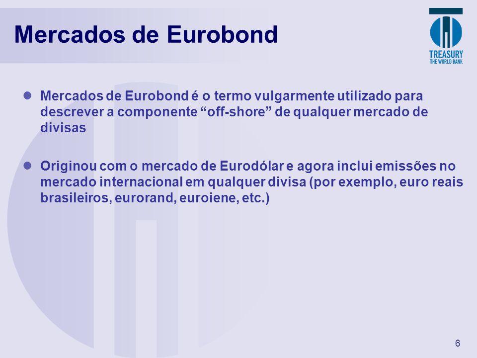 Mercados de Eurobond Mercados de Eurobond é o termo vulgarmente utilizado para descrever a componente off-shore de qualquer mercado de divisas.