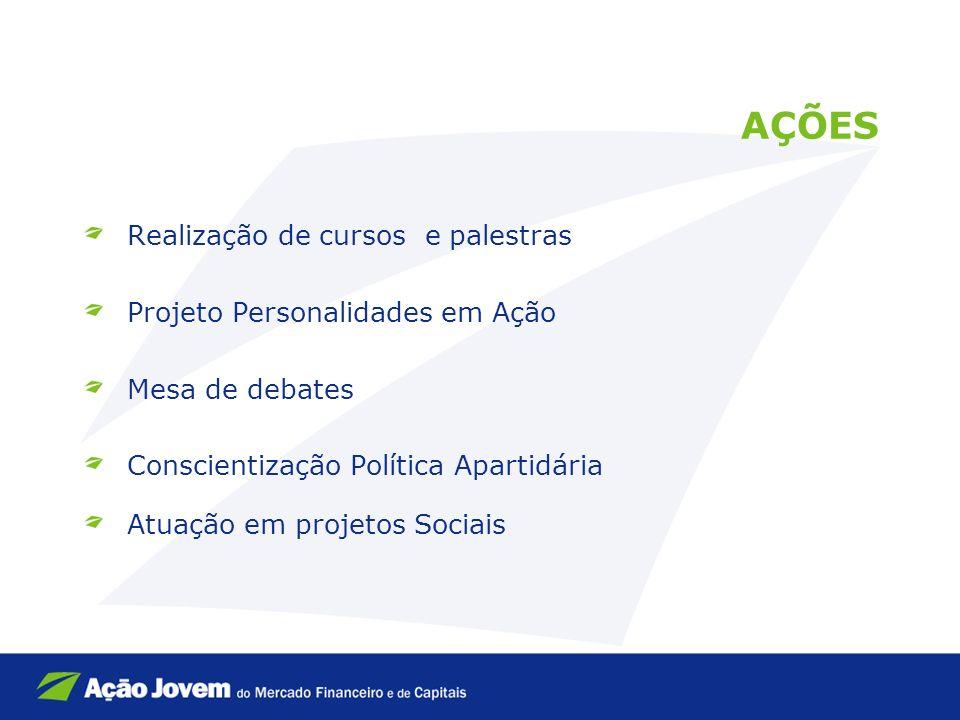 AÇÕES Realização de cursos e palestras Projeto Personalidades em Ação