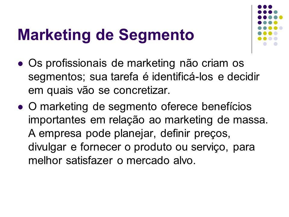 Marketing de Segmento Os profissionais de marketing não criam os segmentos; sua tarefa é identificá-los e decidir em quais vão se concretizar.