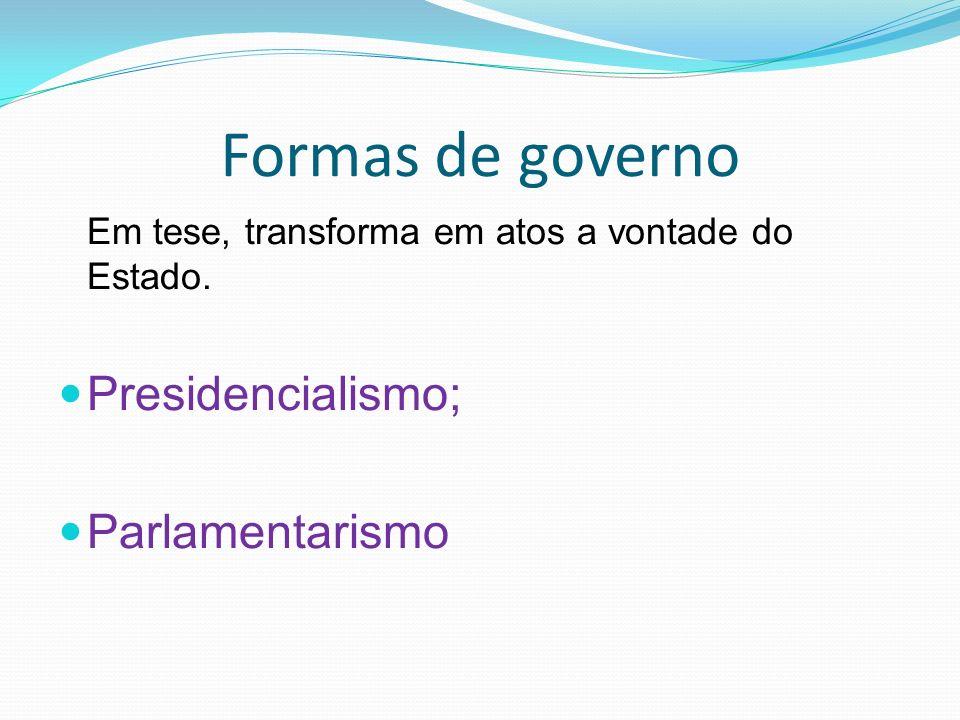 Formas de governo Presidencialismo; Parlamentarismo