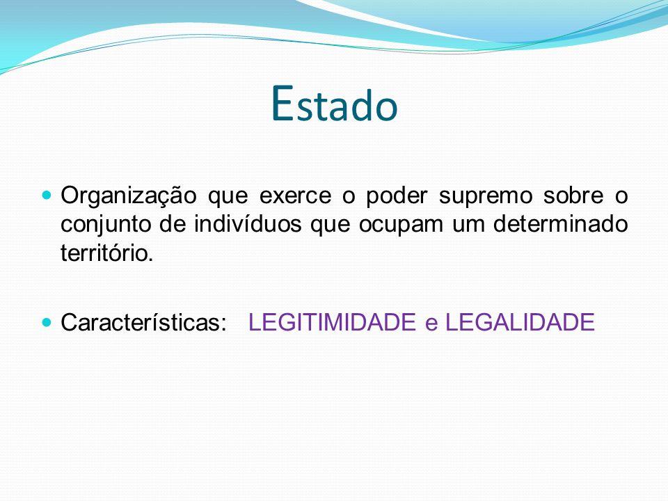 Estado Organização que exerce o poder supremo sobre o conjunto de indivíduos que ocupam um determinado território.