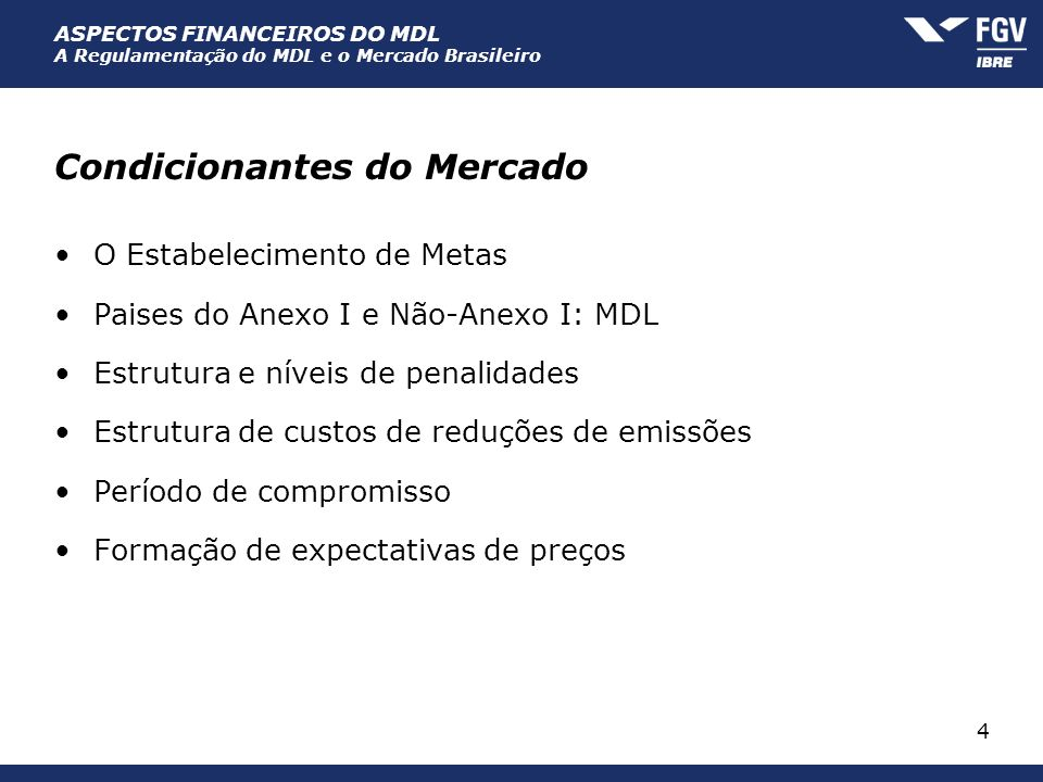 Condicionantes do Mercado