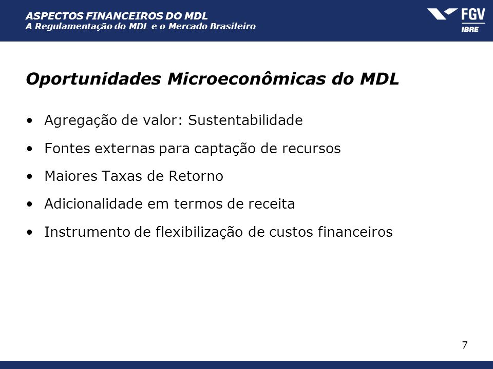 Oportunidades Microeconômicas do MDL