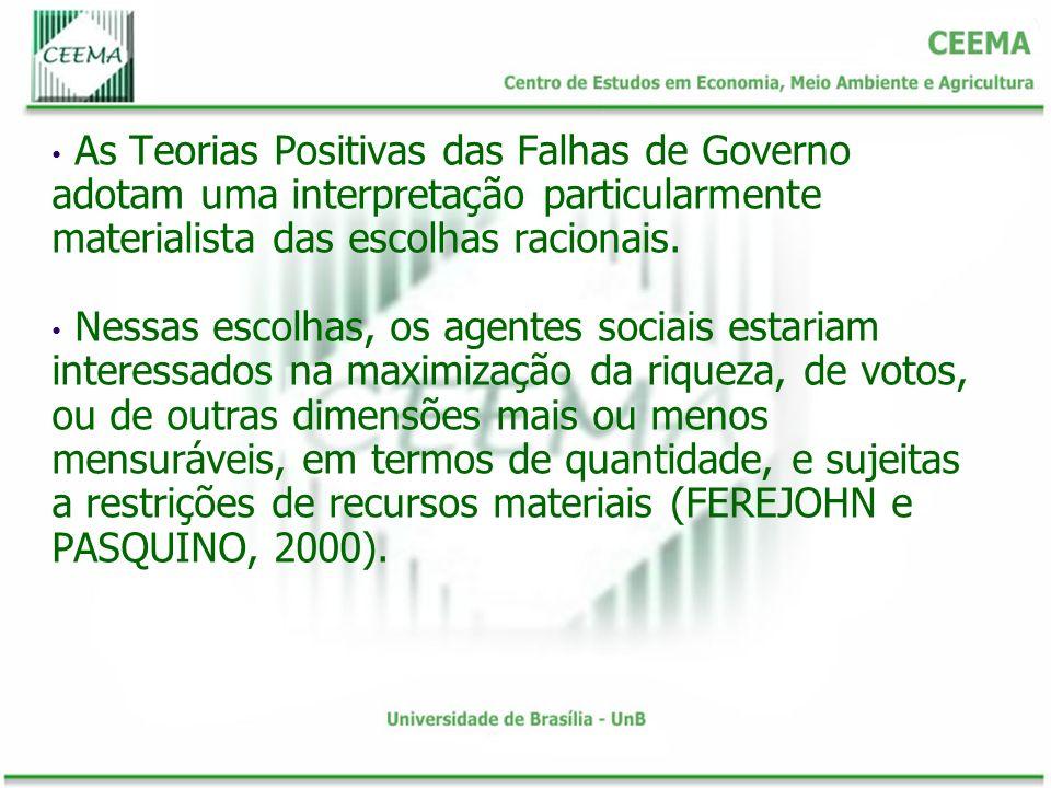 As Teorias Positivas das Falhas de Governo adotam uma interpretação particularmente materialista das escolhas racionais.
